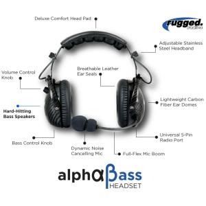 Rugged Radios AlphaBass Headset H28-AB