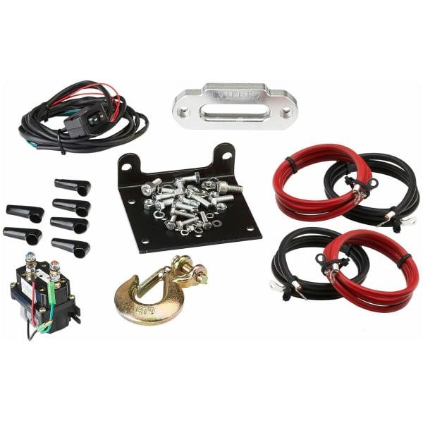 Viper Midnight 4500 lb ATV UTV Winch Kit with 50 feet BLACK Synthetic Rope