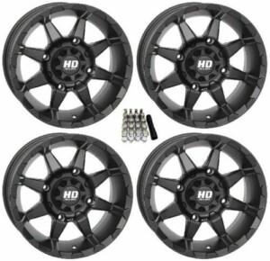 "STI HD6 UTV Wheels Gloss Black 14"" Polaris RZR 1000 XP 4x156 14x7 w/ Lugs and Valve Stems"