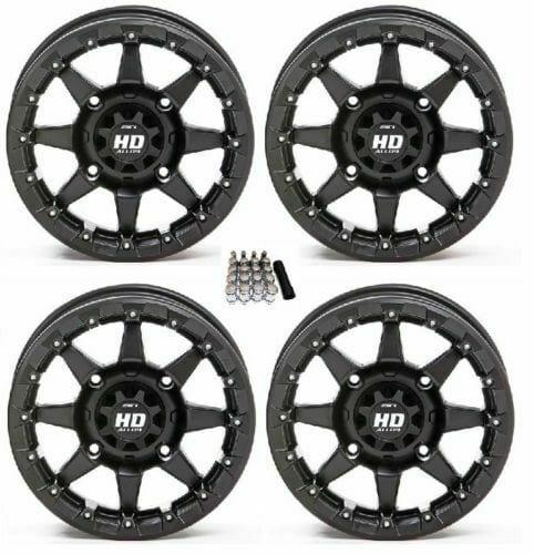 STI HD5 Beadlock Wheels Matte Black 14x7 Polaris RZR 1000 XP (4) 4x156 w/ Lugs and Valve Stems