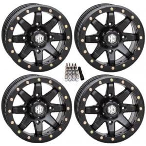 STI HD9 Beadlock Wheels Matte Black 14x7 Polaris RZR 1000 XP (4) 4x156 w/ Lugs and Valve Stems