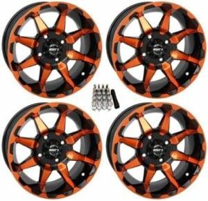 "STI HD6 UTV Wheels Orange / Black 14"" Polaris RZR 1000 XP 4x156 14x7 w/ Lugs and Valve Stems"