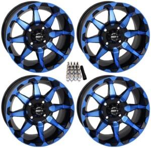 "STI HD6 UTV Wheels Blue / Black 14"" Polaris RZR 1000 XP 4x156 14x7 w/ Lugs and Valve Stems"